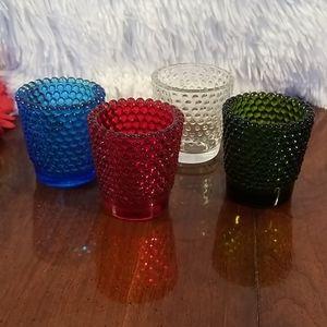 4 Hobnail tea light holders